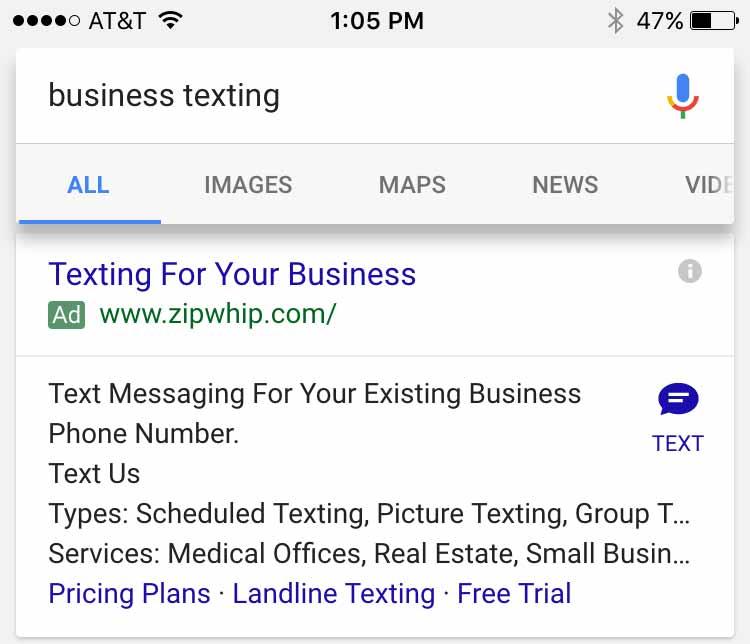 Google AdWords тестирует отправку SMS в объявлениях