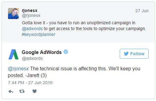 Google уточнил «Планировщик ключевых слов» не требует активной кампании