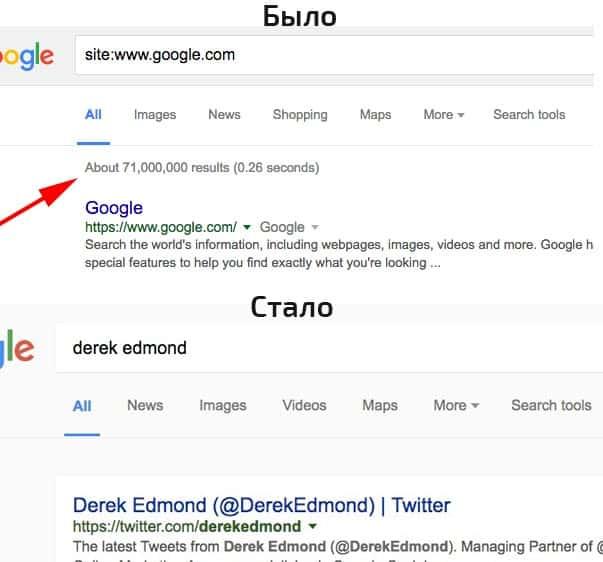 Тест Google удаляет приблизительное количество результатов поиска