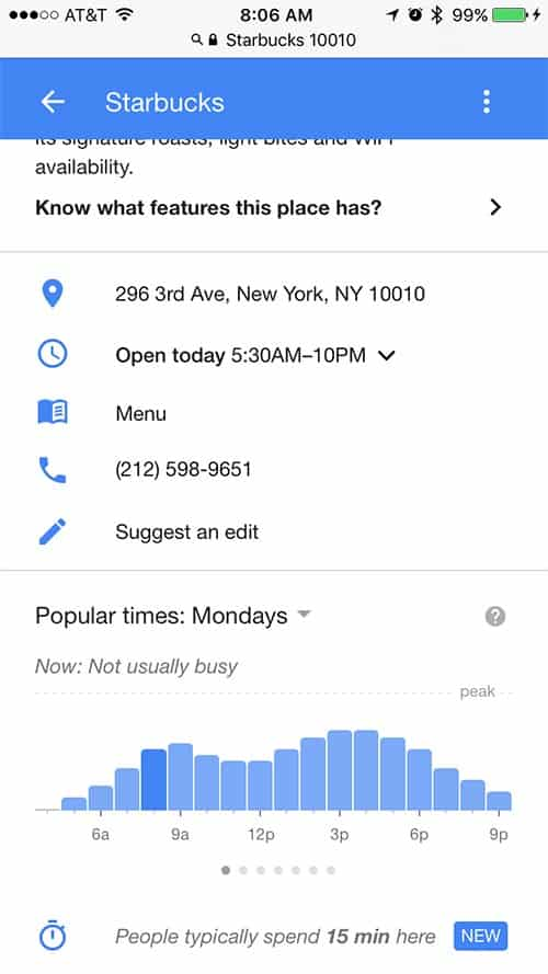 Google Maps начал показывать среднее время пребывание в конкретном заведении