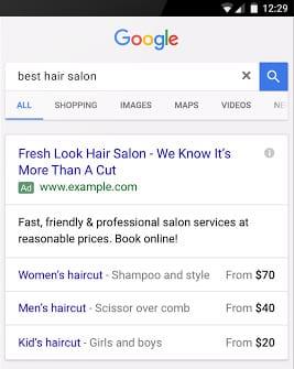 Google добавляет новое расширения «цены» для мобильных текстовых объявлений