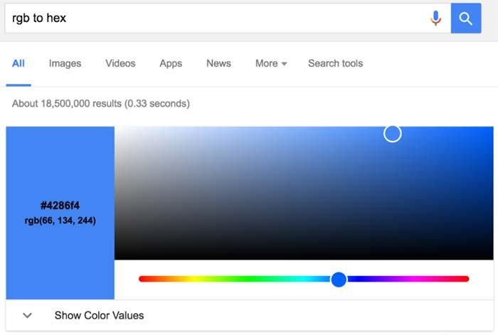 Конвертация с RGB в Hex теперь в результаты поиска Google