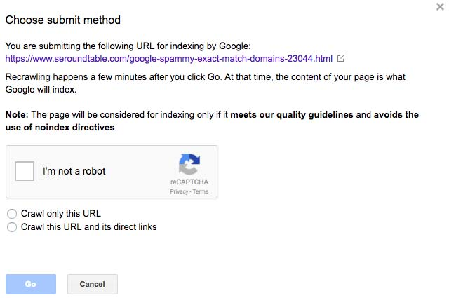 Примечание Google Webmasters Tools