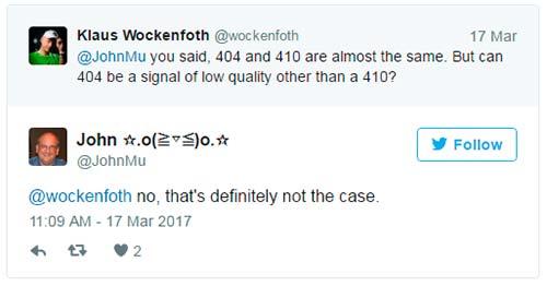 Google: наличие 404 ошибок не указывает на некачественность сайта