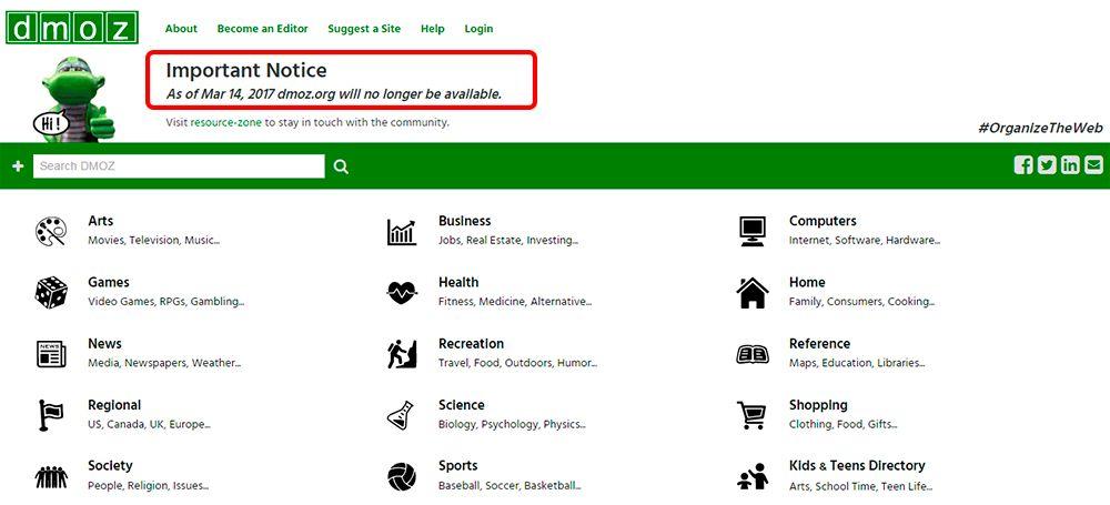 Веб-каталог DMOZ закрывается