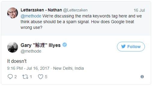 Google не накладывает санкции за переспам метатеге «Keywords»