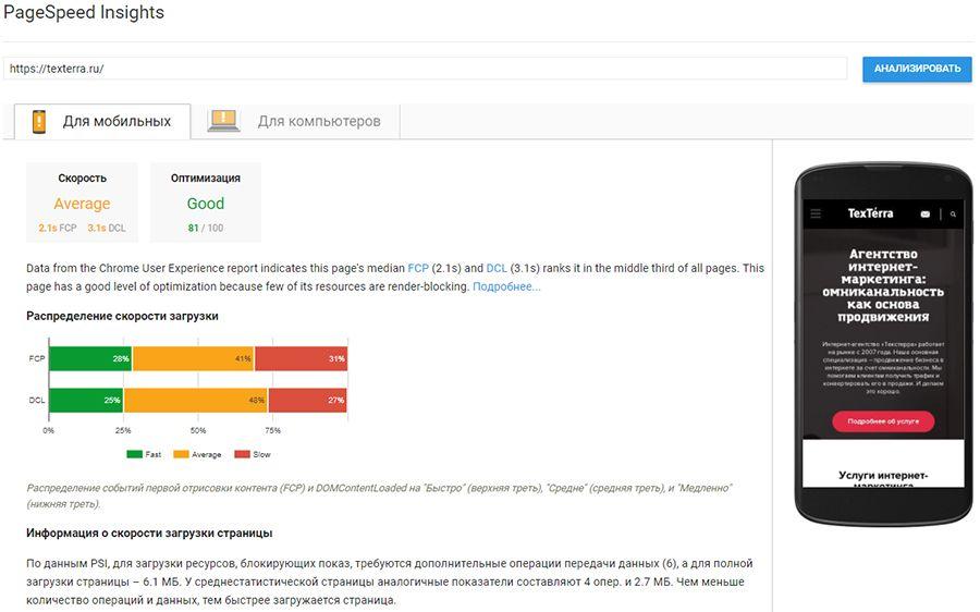 PageSpeed-Insights - texterra.ru