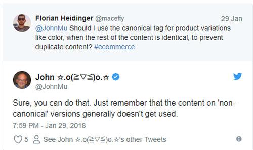 Google не учитывает контент с неканонических страниц