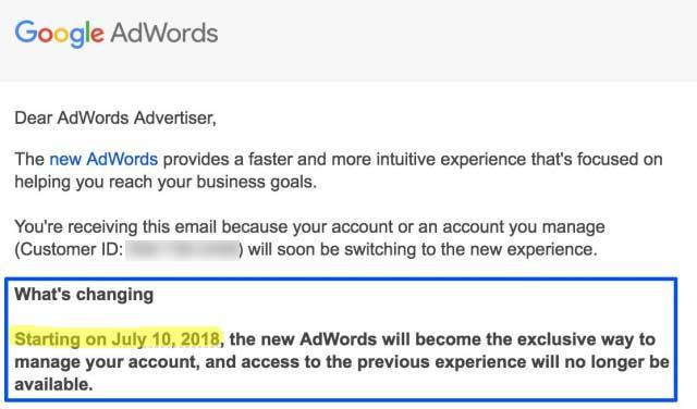 Google: с 10 июля начинает закрывает старый интерфейс AdWords