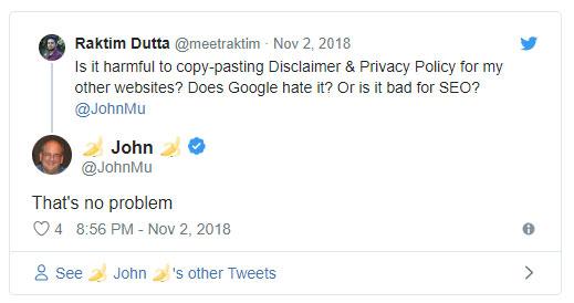 Google: нам не важно, если у вас не уникальный текст в Legal Disclaimers & Privacy Policies