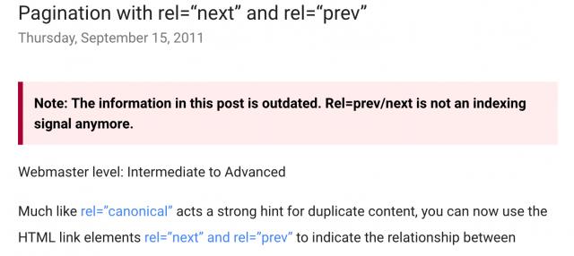 Google: Rel = prev / next больше не является сигналом индексации