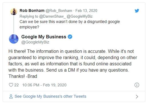 Google My Business: ключевые слова в описании могут влиять на ранжирование